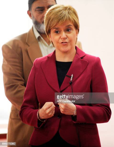 Scotland's First Minister and Scottish National Party leader Nicola Sturgeon meets worshippers during a visit to Dundee Central Mosque in Dundee...