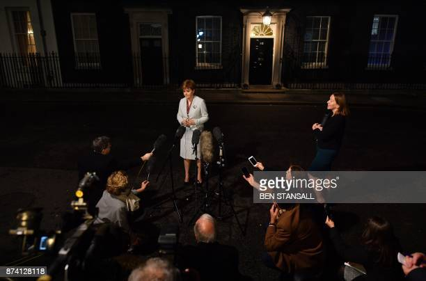 Scotland's First Minister Nicola Sturgeon adressess the media outside 10 Downing Street in central London on November 14 following her meeting with...