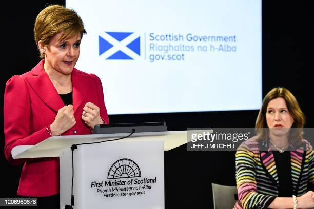 Scotland's First Minister Nicola Sturgeon and Chief Medical Officer Dr Catherine Calderwood give a press conference on the COVID19 situation...