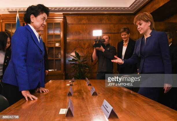 Scotland's First Minister Nicola Sturgeon and China's Vice Premier Liu Yandong pose for photographs ahead of their meeting at St Andrew's House in...