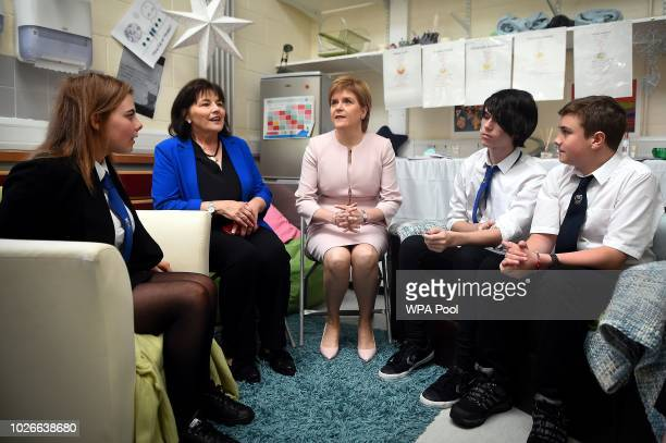 Scotland's First Minister Nicola Sturgeon and Scottish Health Secretary Jeanne Freeman meet young people taking part in mental health focused PSE...