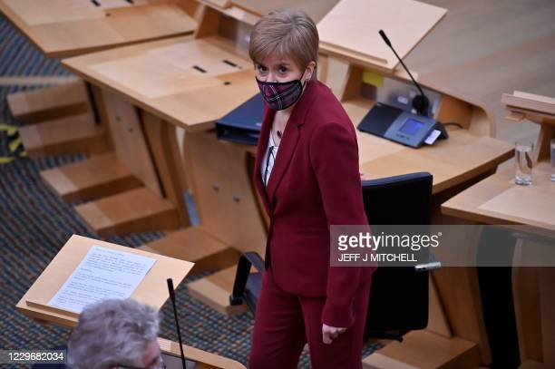 Scotland's First Minister Nicola Sturgeon attends First Minister's Questions at the Scottish Parliament on November 19, 2020 in Edinburgh.