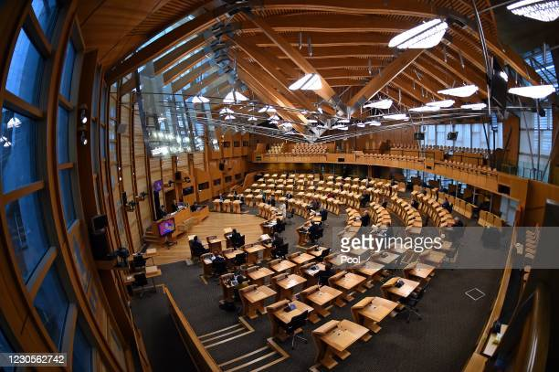 Scotland's First Minister Nicola Sturgeon attends First Minister's Questions at the Scottish Parliament in Holyrood where she delivered an update on...