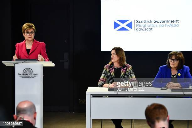 Scotland's First Minister Nicola Sturgeon Chief Medical Officer Dr Catherine Calderwood and Health Secretary Jeane Freeman give a press conference on...