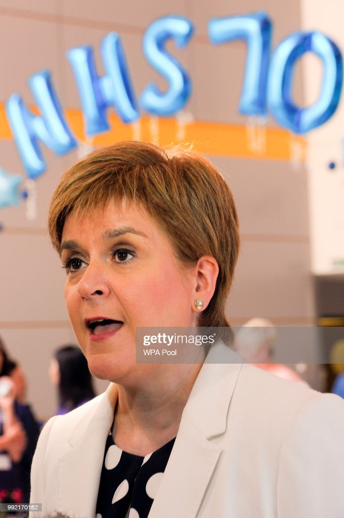 Scotland's First Minister Nicola Sturgeon during a visit to the Royal Hospital for Children to mark the 70th Anniversary of the NHS on July 5, 2018, in Glasgow, United Kingdom. Welsh Labour MP and Health Minister, Aneurin 'Nye' Bevan, formed the National Health Service on 5 July 1948. It is the publicly funded national healthcare system for the UK.