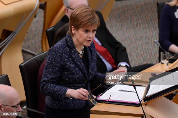 Scotland's First Minister Nicola Sturgeon during First Minister's Questions in the Scottish Parliament on January 24 2019 in Edinburgh Scotland It...