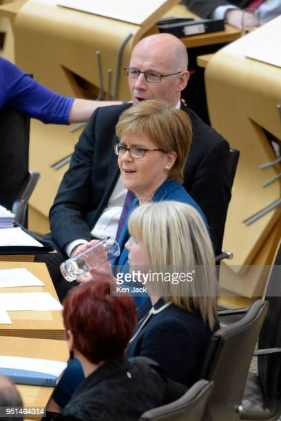 Scotland's First Minister Nicola Sturgeon during First Minister's Questions in the Scottish Parliament on April 26 2018 in Edinburgh Scotland