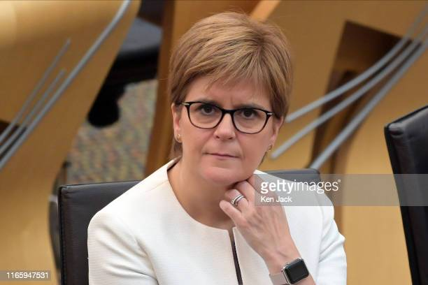 Scotland's First Minister Nicola Sturgeon during the debate in the Scottish Parliament on her Programme for Government for the next year, on...
