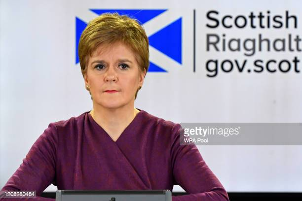 Scotland's First Minister Nicola Sturgeon holds a briefing on the novel coronavirus COVID-19 outbreak in Edinburgh on March 26, 2020 in Edinburgh,...