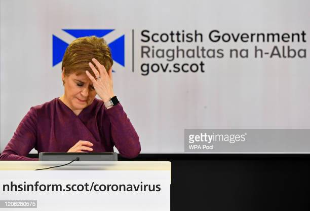 Scotland's First Minister Nicola Sturgeon holds a briefing on the novel coronavirus COVID-19 outbreak in Edinburgh on March 26, 2020 in Edinburgh,...