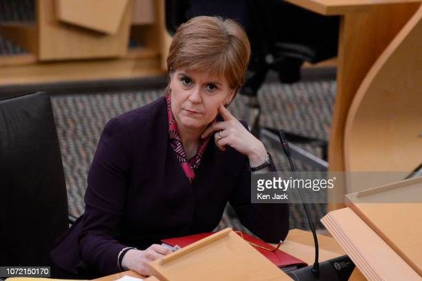 Scotland's First Minister Nicola Sturgeon in the Scottish Parliament on the day UK Prime Minister Theresa May faces a vote of no confidence by the UK...