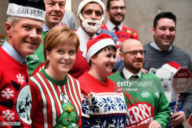 Scotland's First Minister Nicola Sturgeon is joined by Scottish party leaders including Ruth Davidson inside the Scottish Parliament to promote Save...