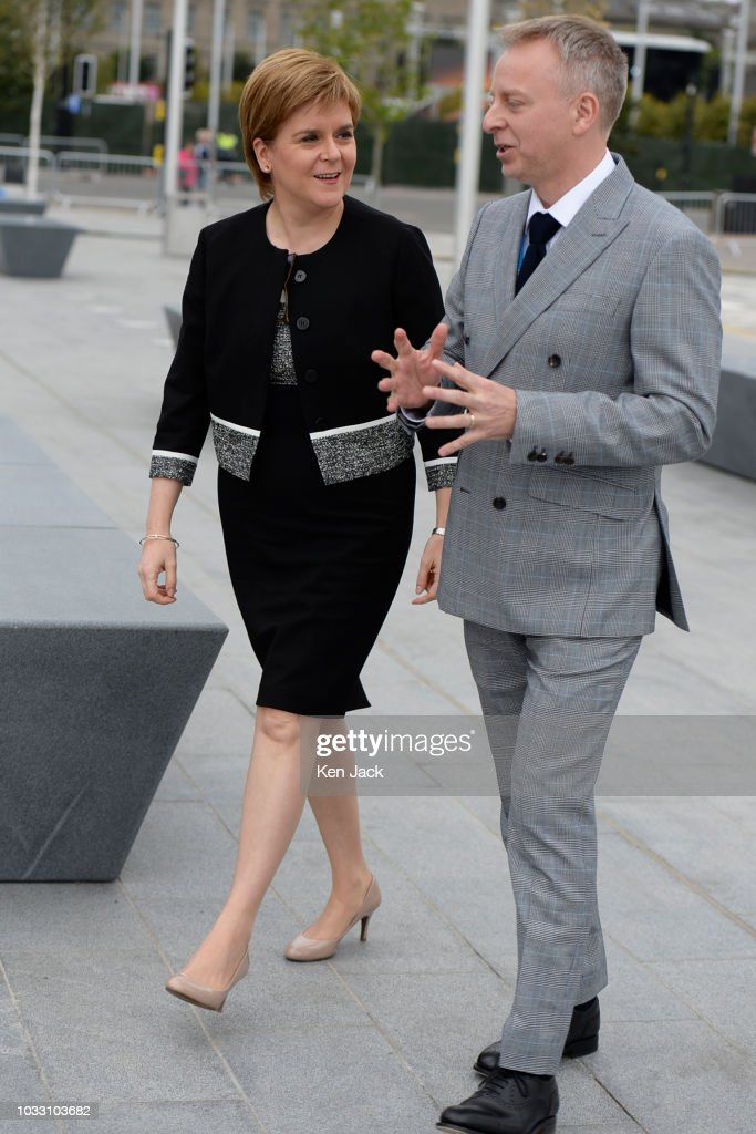 Scotland's First Minister Nicola Sturgeon is welcomed to the new V&A Dundee by museum director Philip Long, on September 14, 2018 in Dundee, Scotland.