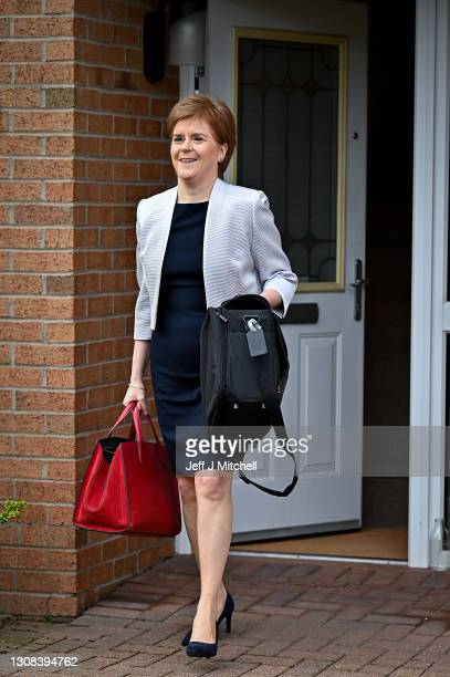 Scotland's First Minister Nicola Sturgeon leaves her home on March 22, 2021 in Glasgow, Scotland. After last week's news that a Scottish...