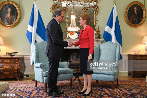 Scotland's First Minister Nicola Sturgeon meets with Catalan regional president Quim Torra at Bute House in Edinburgh, Scotland on July 11, 2018. -...