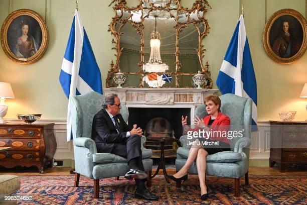 Scotland's First Minister Nicola Sturgeon meets with the President of Catalonia Quim Torra at Bute House on July 11 2018 in Edinburgh Scotland