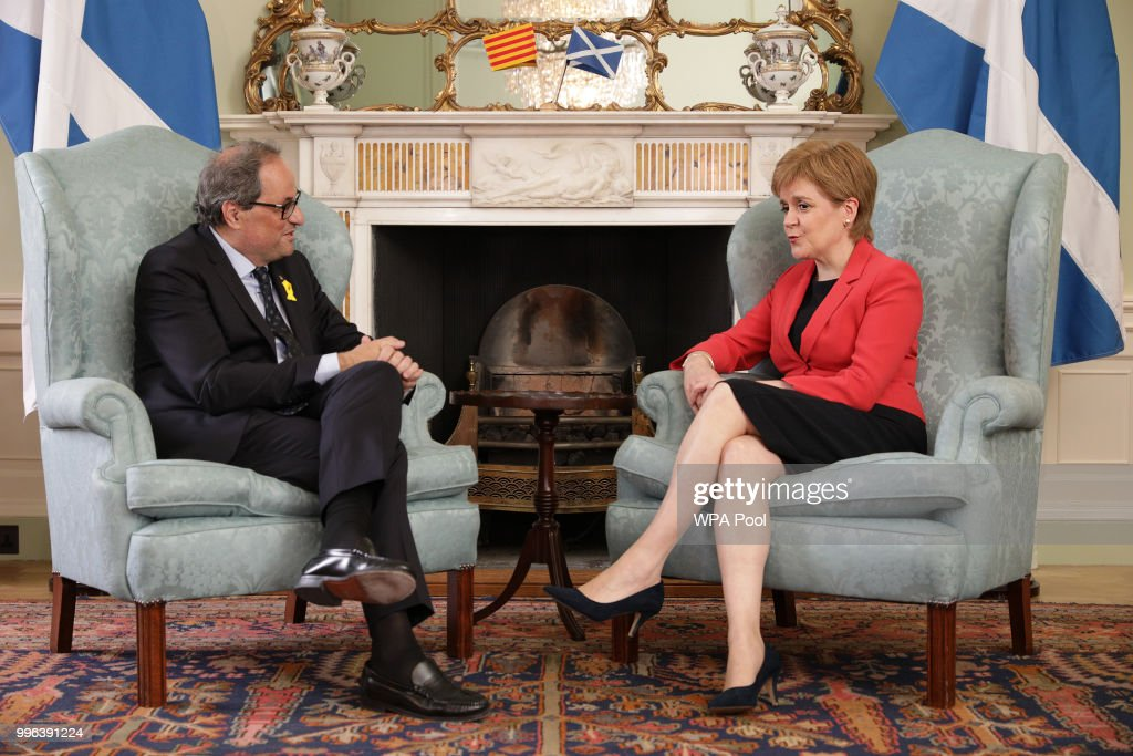 Scotland's First Minister Nicola Sturgeon meets with the President of Catalonia Quim Torra at Bute House on July 11, 2018 in Edinburgh, Scotland.