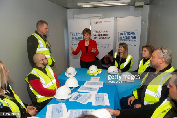 Scotland's First Minister Nicola Sturgeon meets with Zofia Piotrowska training officer with Moretti Care and other workers during a visit to a...