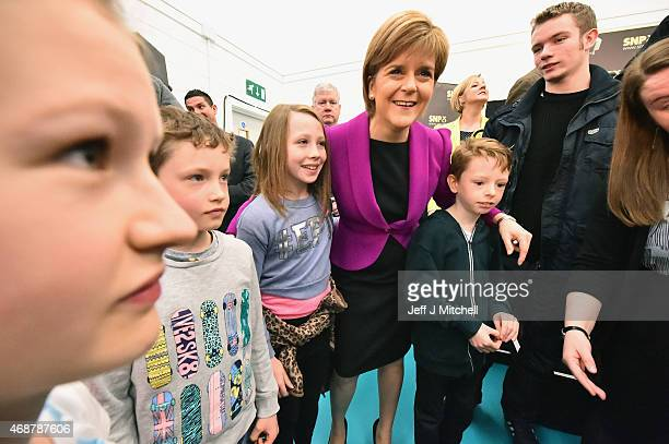 Scotland's First Minister Nicola Sturgeon meets young activists following her speech setting out the SNP's plans to reduce child poverty at...