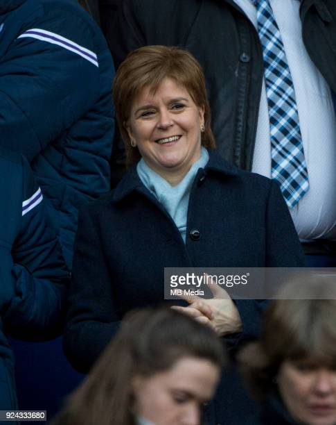 Scotland's first minister Nicola Sturgeon MSP is delighted as the Scots beat England by 2513 to lift the Calcutta cup at BT Murrayfield on February...