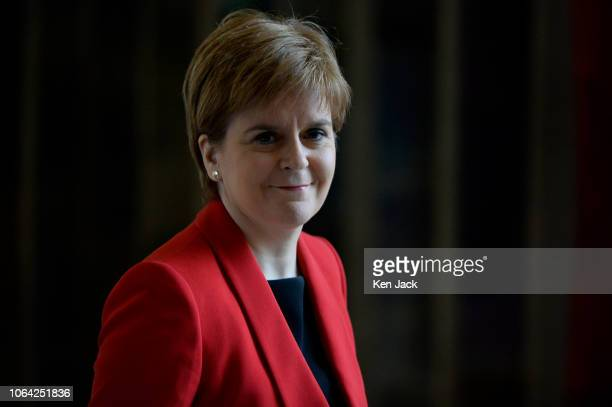 Scotland's First Minister Nicola Sturgeon on the way to First Minister's Questions in the Scottish Parliament on November 22 2018 in Edinburgh...