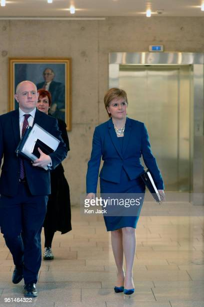 Scotland's First Minister Nicola Sturgeon on the way to First Minister's Questions in the Scottish Parliament on April 26 2018 in Edinburgh Scotland