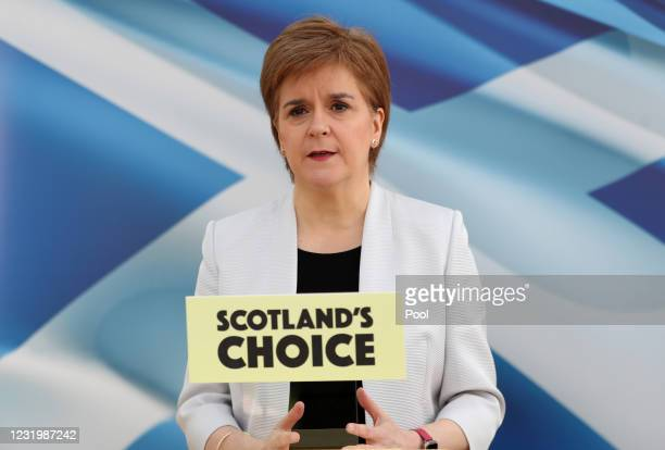 Scotland's First Minister Nicola Sturgeon rehearses her SNP Campaign Conference speech, due to be broadcast on Monday, on March 28, 2021 in Glasgow,...