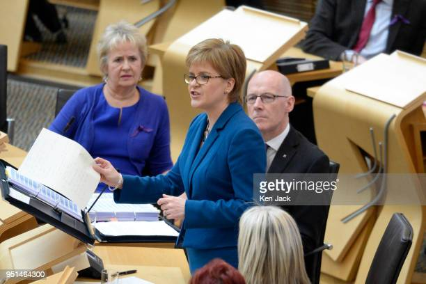 Scotland's First Minister Nicola Sturgeon speaking during First Minister's Questions in the Scottish Parliament on April 26 2018 in Edinburgh Scotland