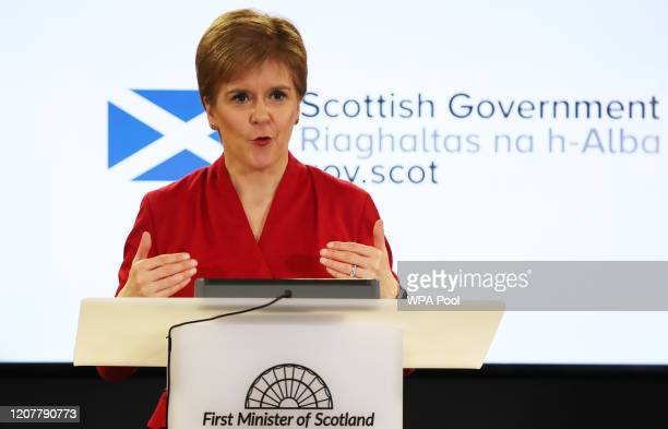 Scotland's First Minister Nicola Sturgeon speaks during a coronavirus update briefing on March 20, 2020 in Edinburgh, Scotland. Coronavirus has...