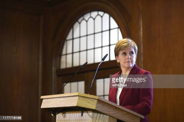 Scotland's First Minister Nicola Sturgeon speaks during a joint press conference on Brexit with Wales's First Minister Mark Drakeford on October 23,...