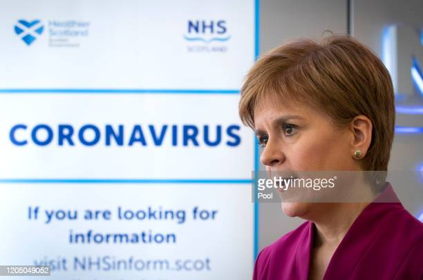 Scotland's First Minister Nicola Sturgeon speaks during a visit to the NHS 24 contact centre at the Golden Jubilee National Hospital to meet staff...