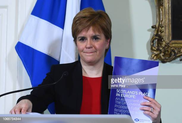 Scotland's First Minister Nicola Sturgeon takes part in a joint press conference at Bute House on November 27 2018 in Edinburgh Scotland Ms Sturgeon...