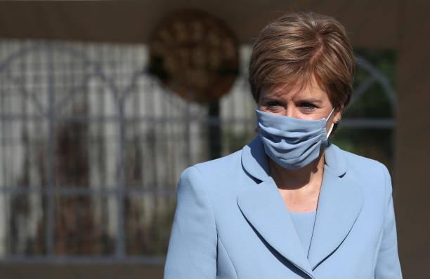 GBR: Scotland's First Minister Nicola Sturgeon Visits Children's Nursery In Fallin