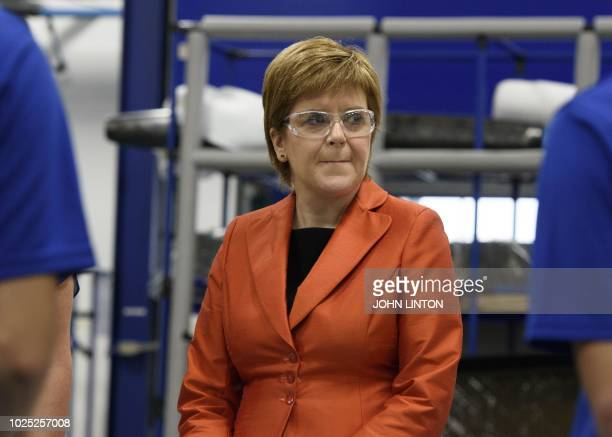 Scotland's First Minister Nicola Sturgeon visits Spirit AeroSystems near Prestwick Airport where she met apprentices and graduates on August 30 2018