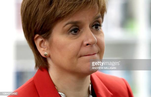 Scotland's First Minister Nicola Sturgeon visits the Loanhead Centre in Edinburgh on November 21 2018 Sturgeon visited the centre to highlight...