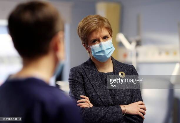 Scotland's First Minister Nicola Sturgeon visits Western General Hospital amid the spread of the coronavirus disease on December 7, 2020 in...