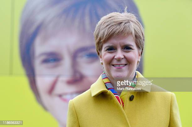 Scotland's First Minster Nicola Sturgeon MSP poses as the SNP kick off the UK General Election Campaign Bus Tour on December 5, 2019 in South...
