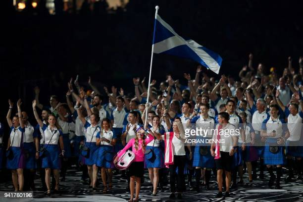 Scotland's flagbearer Eilidh Doyle leads the delegation during the opening ceremony of the 2018 Gold Coast Commonwealth Games at the Carrara Stadium...