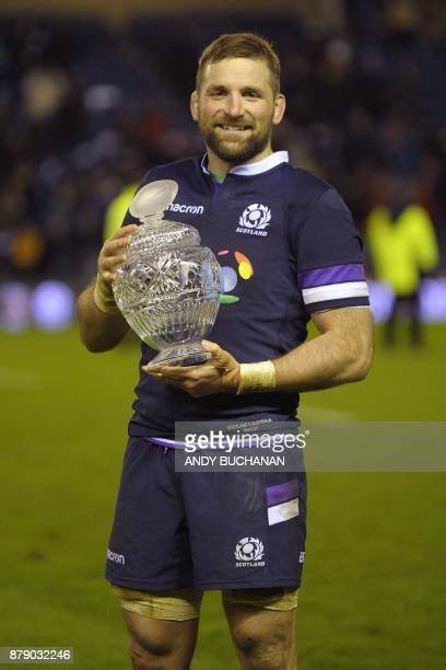Scotland's flanker John Barclay poses with the Hopetoun Cup after the autumn international rugby union test match between Scotland and Australia at...