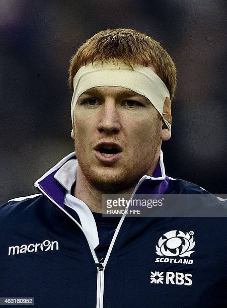 Scotland's flanker Rob Harley listens to the national anthems ahead of the Six Nations international rugby union match between France and Scotland at...