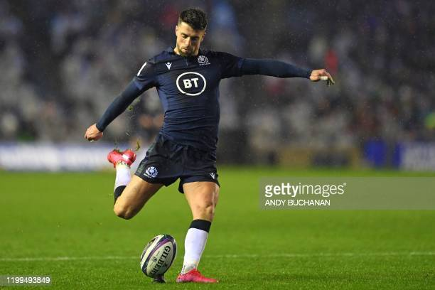 Scotland's flyhalf Adam Hastings kicks this penalty to draw level at 33 during the Six Nations international rugby union match between Scotland and...