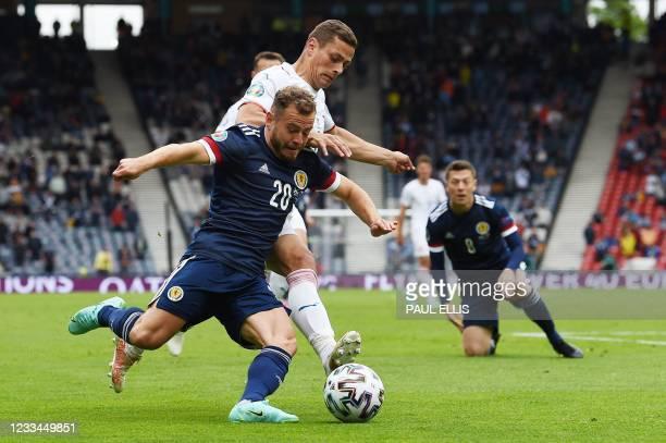 Scotland's forward Ryan Fraser vies with Czech Republic's midfielder Tomas Holes during the UEFA EURO 2020 Group D football match between Scotland...