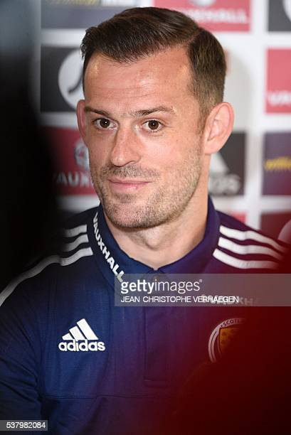 Scotland's forward Steven Fletcher looks on as he gives a press conference in Amnéville eastern France on June 3 on the eve of the friendly football...