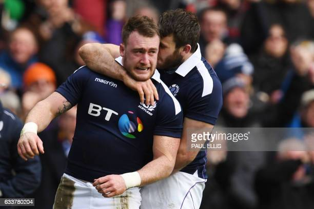 Scotland's full back Stuart Hogg celebrates after scoring during the Six Nations international rugby union match between Scotland and Ireland at...