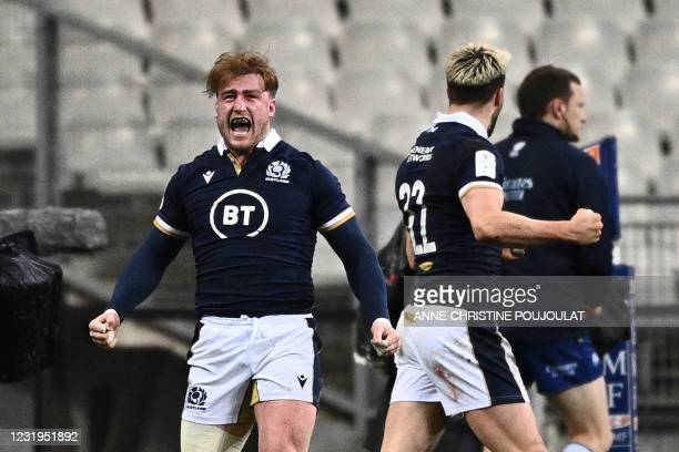 Scotland's full-back Stuart Hogg celebrates after Scotland scored the winning try at the end of the Six Nations rugby union tournament match between...