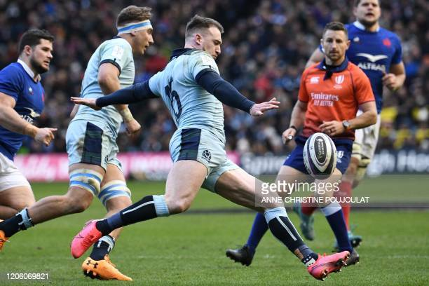 Scotland's fullback Stuart Hogg kicks the ball upfield during the Six Nations international rugby union match between Scotland and France at...