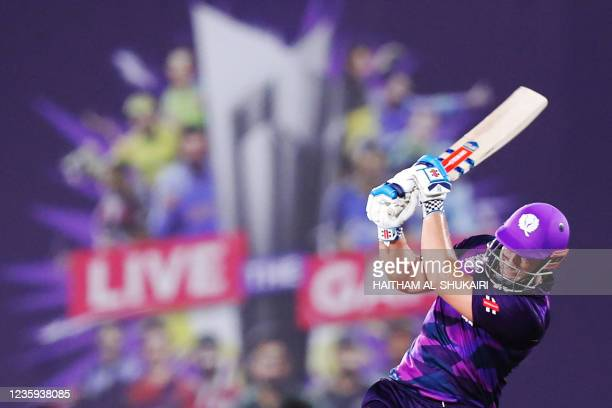 Scotland's George Munsey plays a shot during the ICC mens Twenty20 World Cup cricket match between Bangladesh and Scotland at the Oman Cricket...