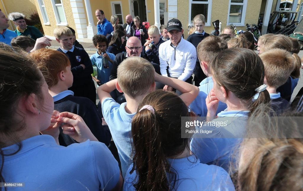 Scotland's Grant Forrest meets some local schoolchildren during the first round of the 2017 Irish Challenge at Mount Wolseley Hotel Spa and Golf Resort on September 14, 2017 in Carlow, Ireland.