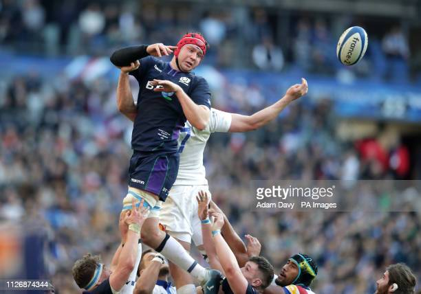 Scotland's Grant Gilchrist competes in a line out during the Guinness Six Nations match at the Stade De France Paris