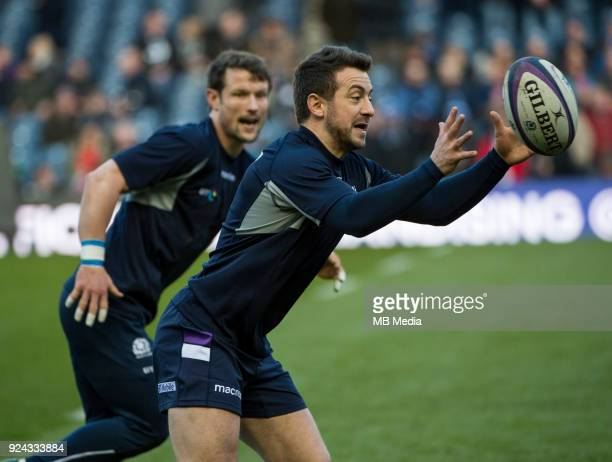 Scotland's Greg Laidlaw warms up prior to the kick off of the 6 Nations clash between Scotland and England at BT Murrayfield on February 24 2018 in...
